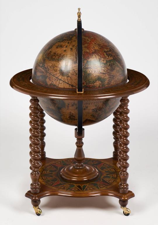 Italian Vintage Italy Globe Bar Cart Side Table For