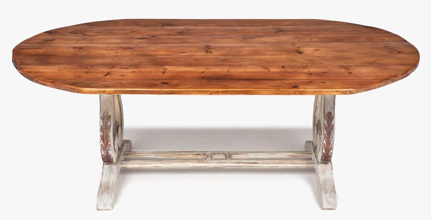 Antique portuguese lyre pedestals dining table at stdibs