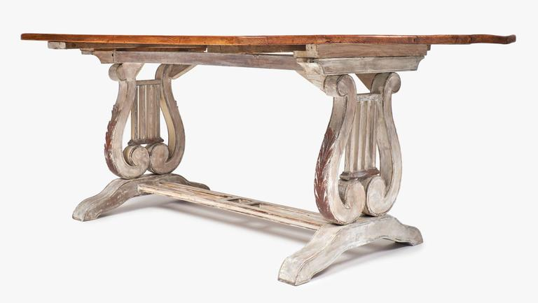 Antique Portuguese Lyre Pedestals Dining Table At 1stdibs
