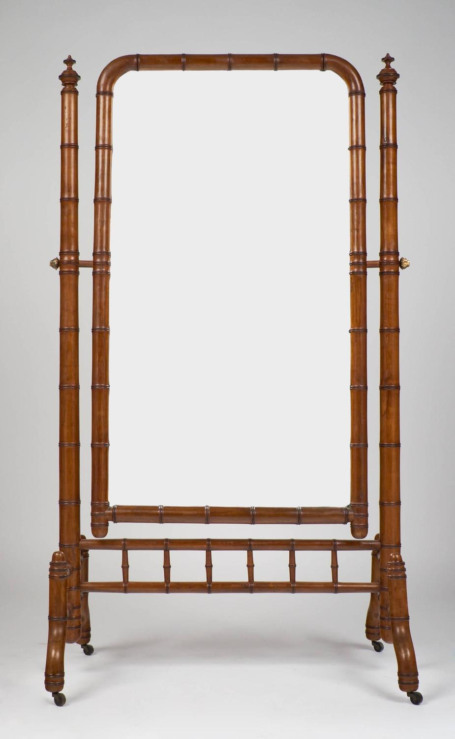 English Antique Faux Bamboo Psyche Mirror For Sale At
