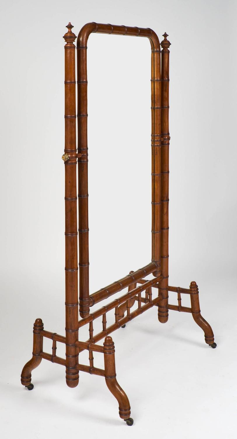 English antique faux bamboo psyche mirror for sale at for Antique standing mirror