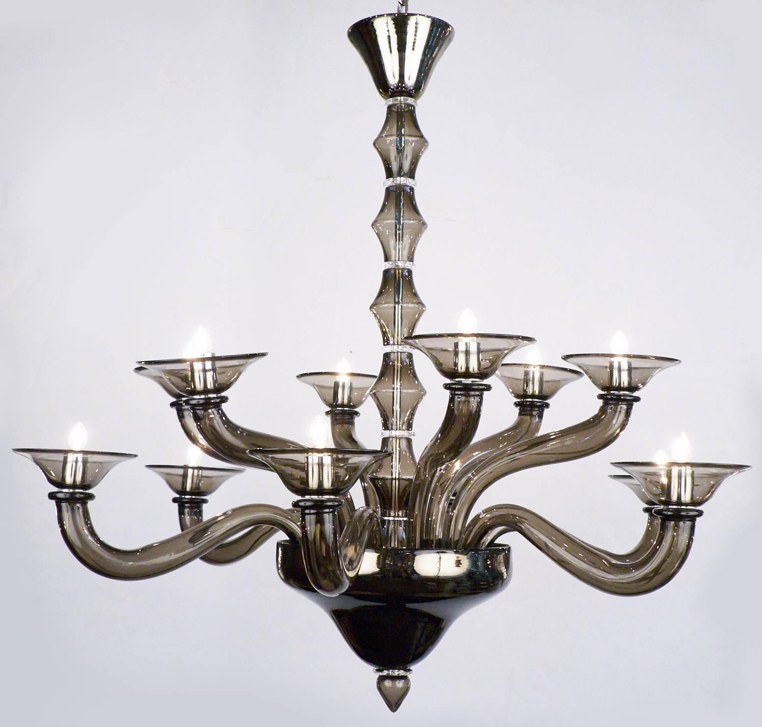 Murano smoked mercury glass chandelier