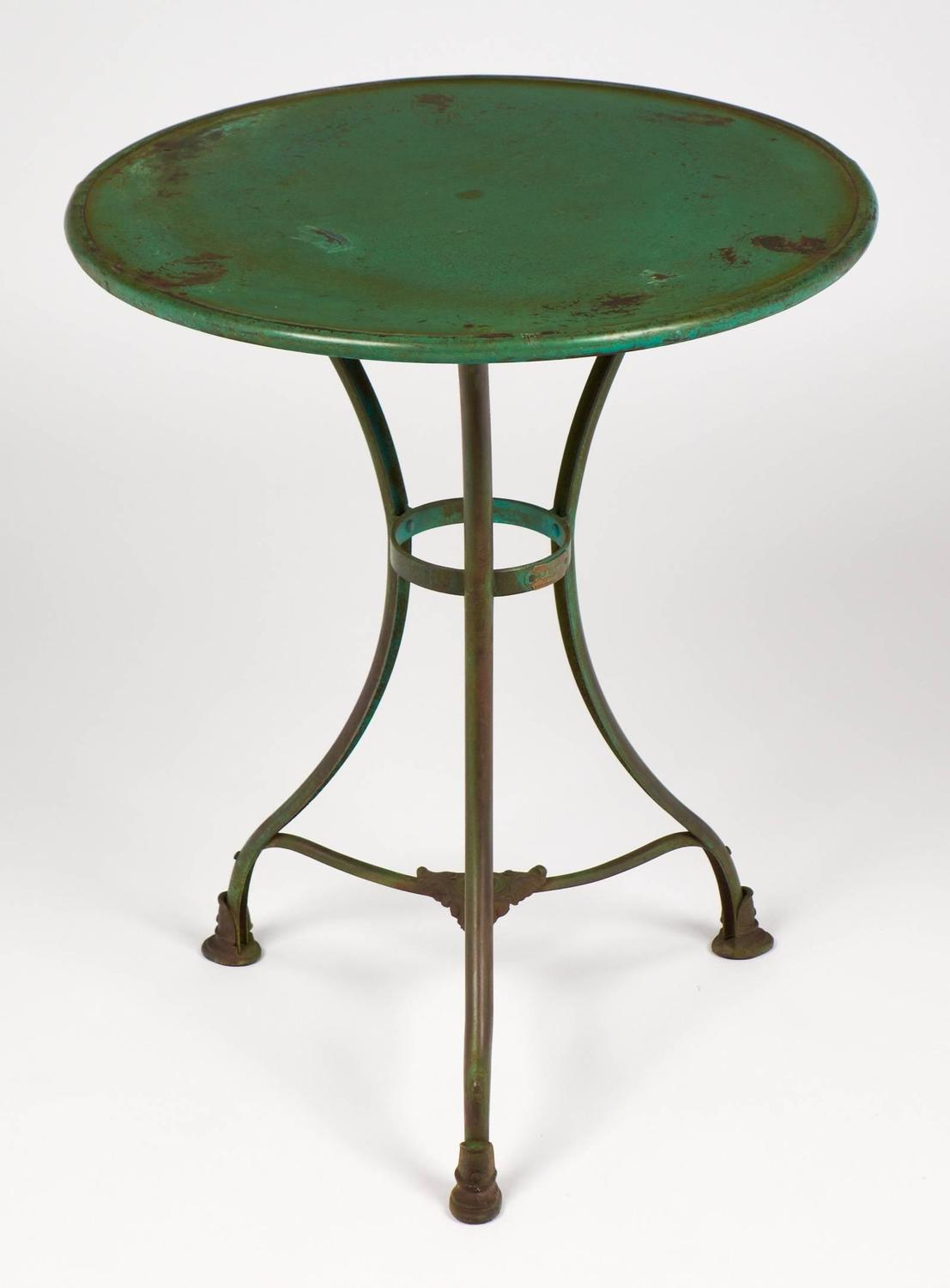 French Green Hammered Iron Bistro Table For Sale At 1stdibs