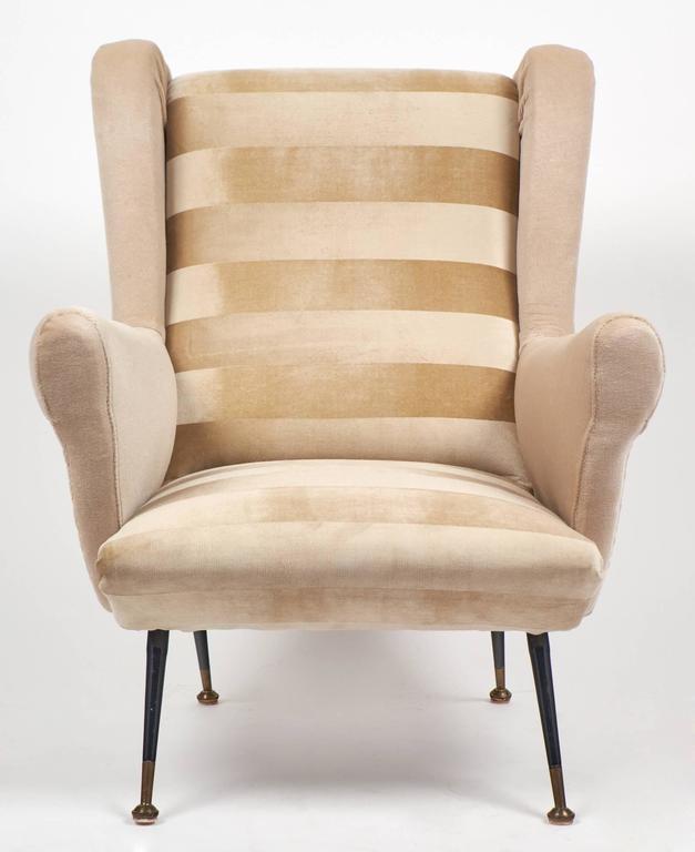Mid Century Modern Armchairs: Italian Mid-Century Modern Striped Velvet Armchairs For