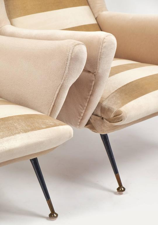 Italian Mid-Century Modern Striped Velvet Armchairs For Sale 5