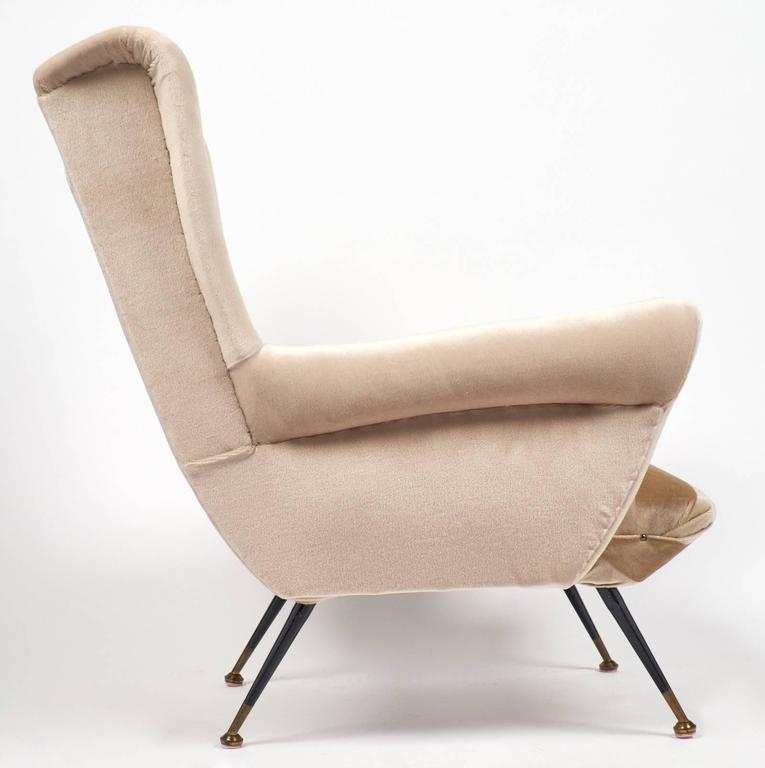 Brass Italian Mid-Century Modern Striped Velvet Armchairs For Sale