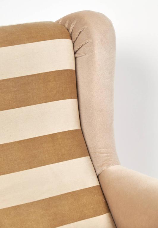 Italian Mid-Century Modern Striped Velvet Armchairs For Sale 3
