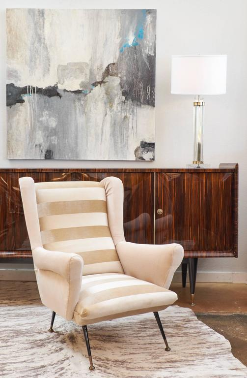 Italian Mid-Century Modern Striped Velvet Armchairs In Good Condition For Sale In Austin, TX