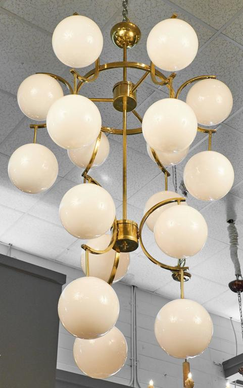 Mid Century Modern Murano Glass Globe Chandelier For Sale