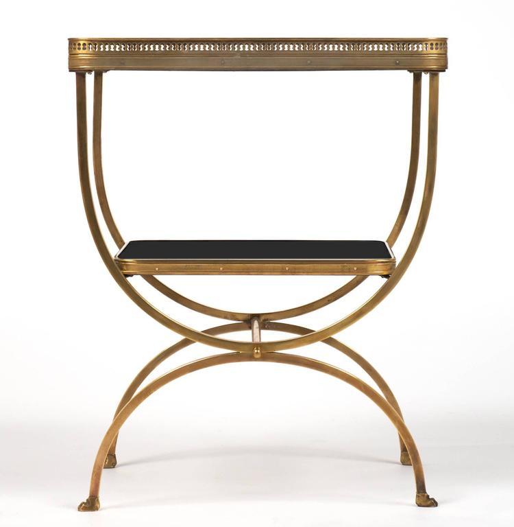 Vintage Brass Curule Side Table with Black Glass Shelves at 1stdibs