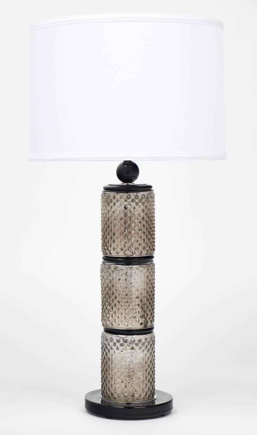 Murano black and silver leaf glass pair of table lamps at for Black and silver lamps