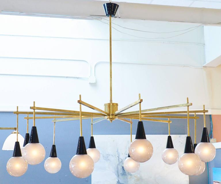 Mid-Century Modern Brass and Murano Glass Chandelier For Sale at ...