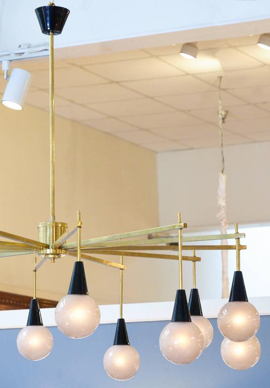 Contemporary Mid-Century Modern Brass and Murano Glass Chandelier For Sale