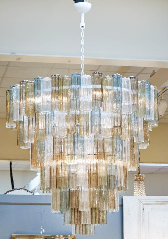 Mid-Century Modern Mazzega Style Multicolored Murano Glass Chandelier For Sale