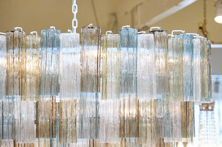 Mazzega Style Multicolored Murano Glass Chandelier In Excellent Condition For Sale In Austin, TX
