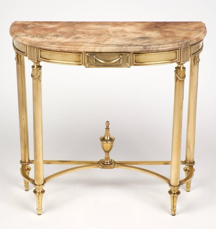 French Console Table french neoclassic marble and brass demilune console table for sale