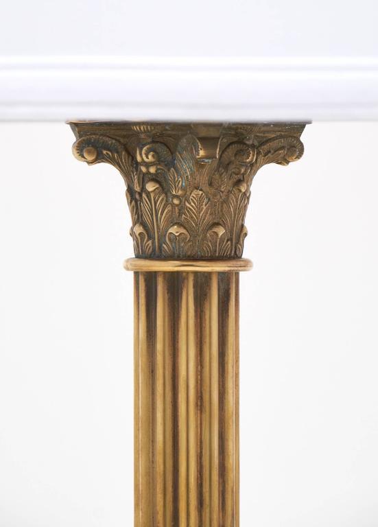 Vintage Pair Of Brass Corinthian Column Lamps At 1stdibs