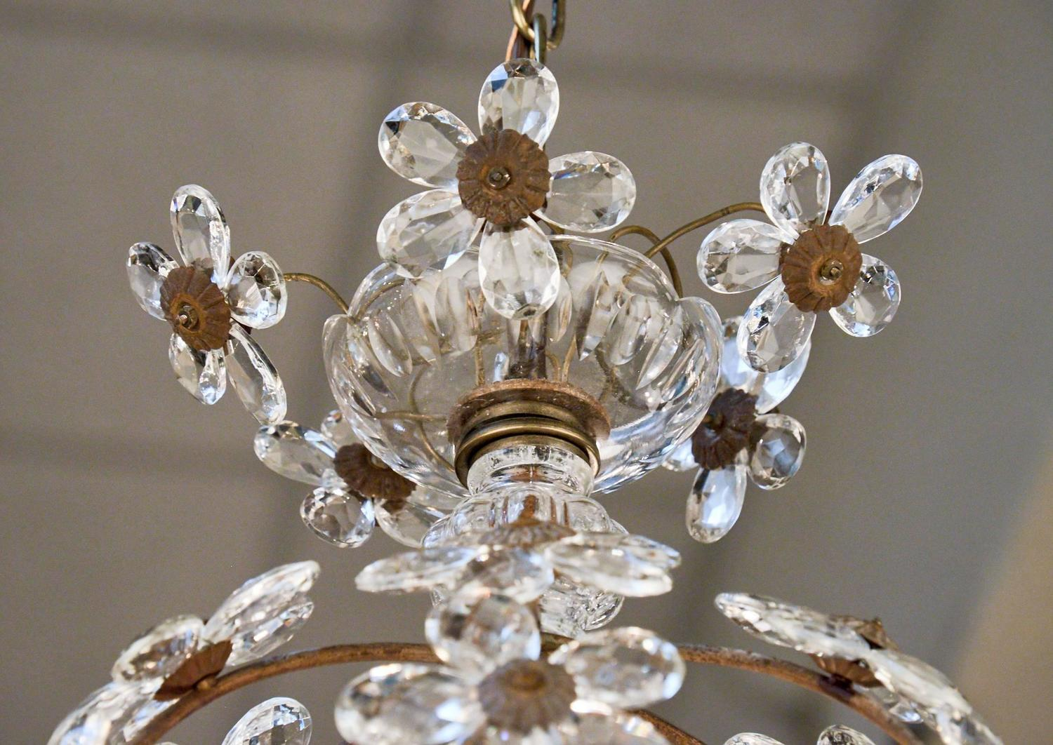 French Antique Glass Flowers And Brass Pendant Light For
