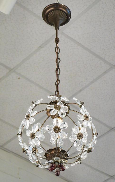 French antique round brass chandelier with crystal flowers. Great attention  to detail, with brass - French Antique Crystal Flowers And Brass Chandelier At 1stdibs