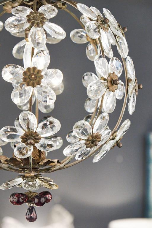 French Antique Crystal Flowers And Brass Chandelier At 1stdibs