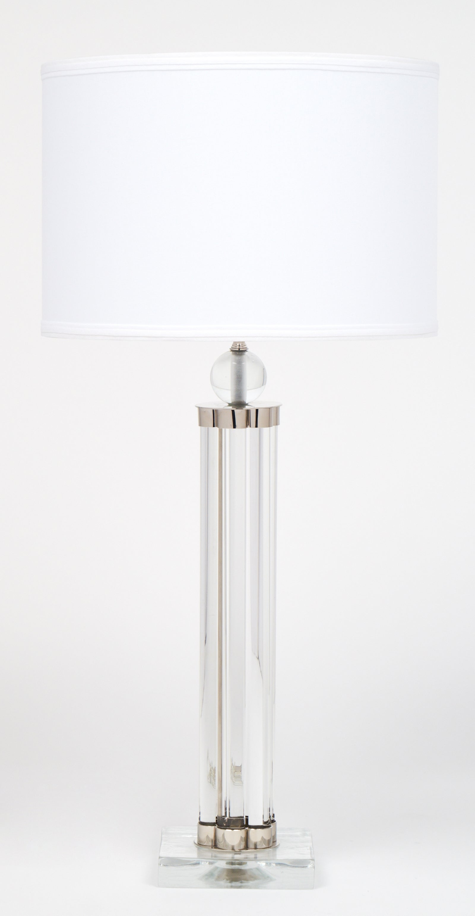 Modernist Pair Of Murano Glass Tube With Chrome Table Lamps For Sale
