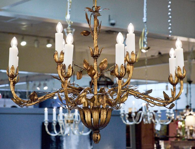 20th Century French Gold Leaf Tole Chandelier For Sale