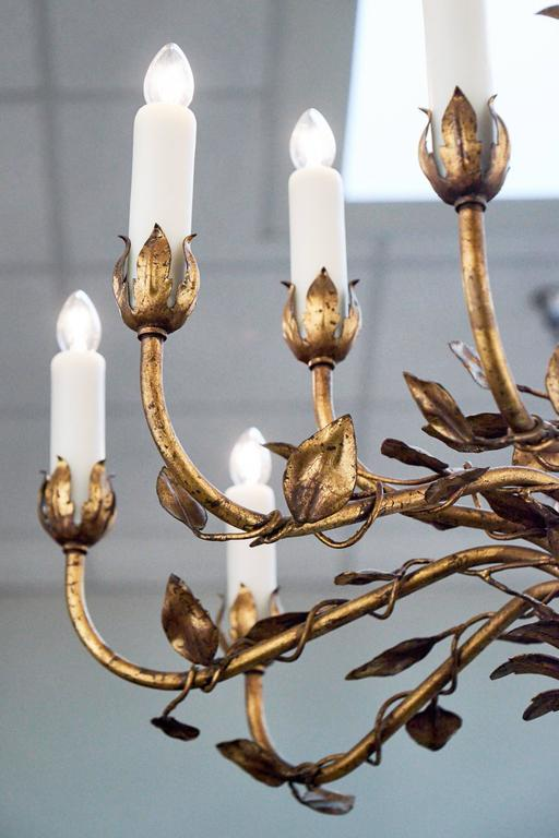 French gold leaf tole chandelier for sale at 1stdibs french gold leaf tole chandelier for sale 3 aloadofball Images