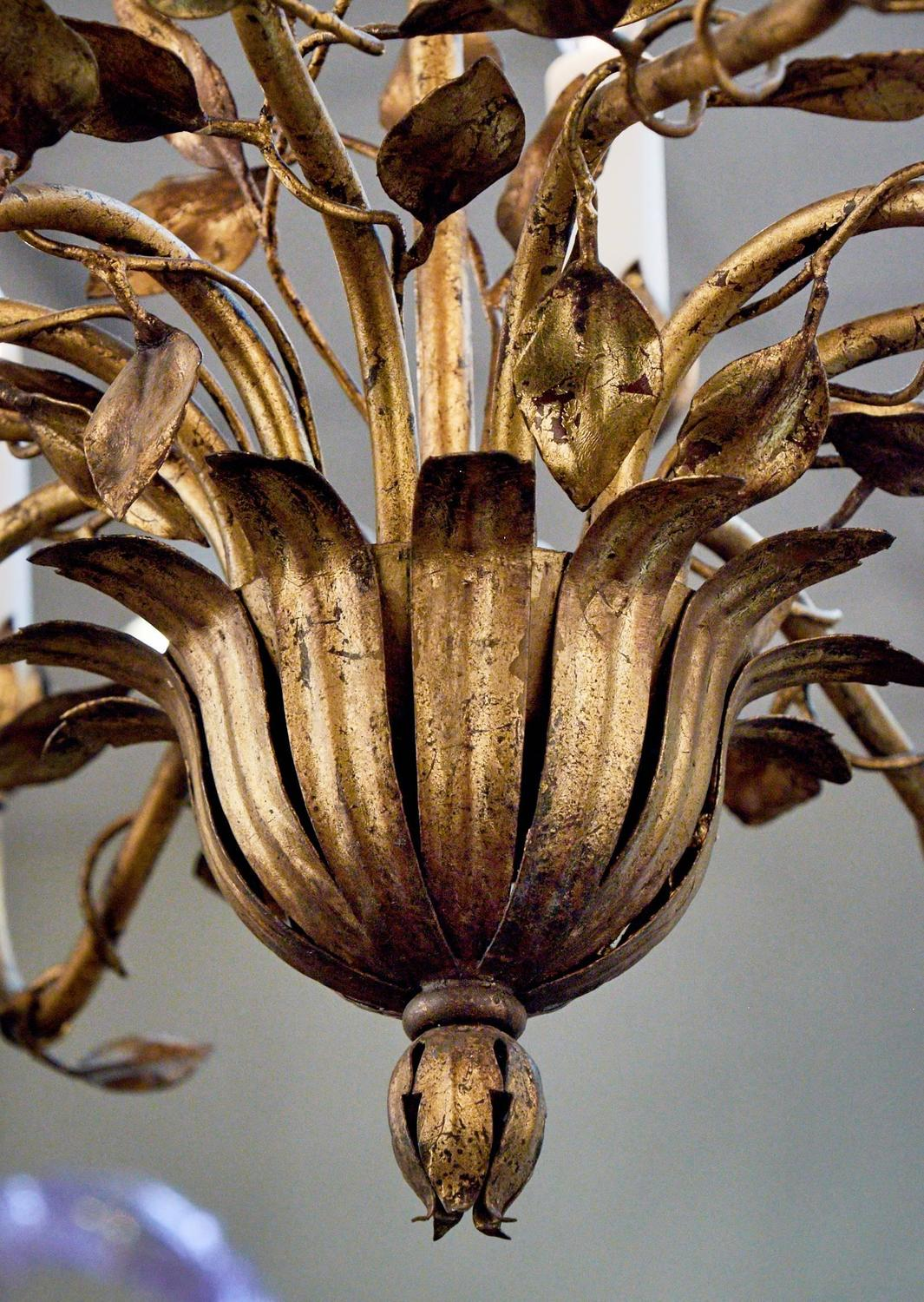 French Gold Leaf Tole Chandelier For Sale At 1stdibs