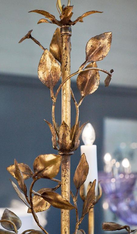 French Gold Leaf Tole Chandelier For Sale 1