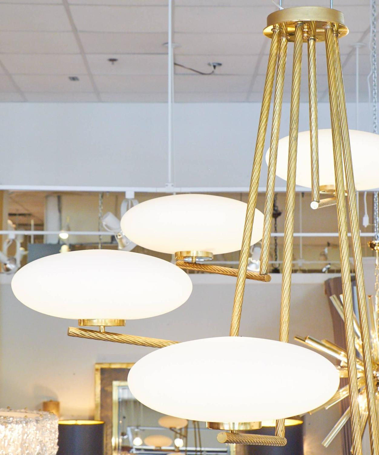 Spiraling Murano Glass Orb and Brass Chandelier at 1stdibs
