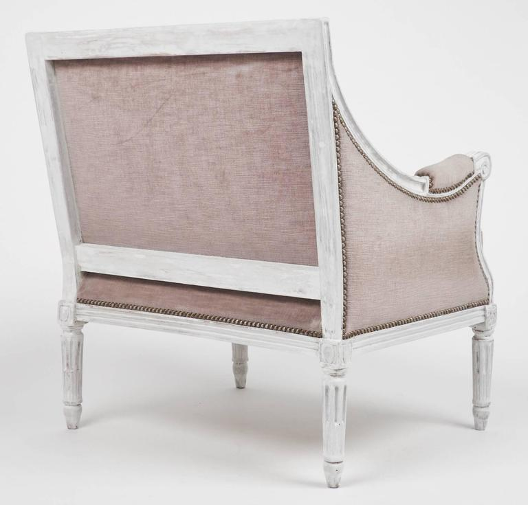 Beech French Antique Louis XVI Lilac Velvet BergèRe Marquise For Sale
