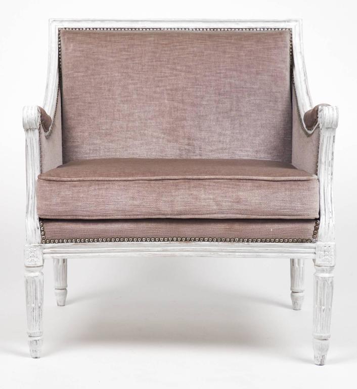 French Antique Louis XVI Lilac Velvet BergèRe Marquise 3