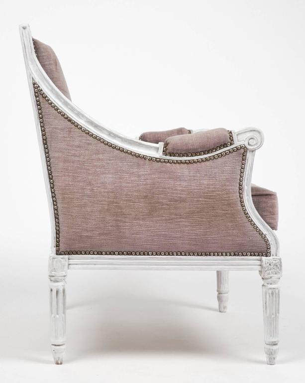 Early 20th Century French Antique Louis XVI Lilac Velvet BergèRe Marquise For Sale