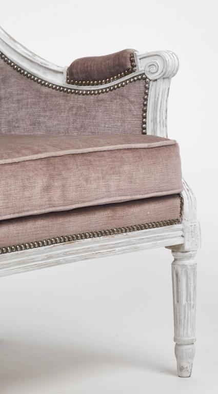 French Antique Louis XVI Lilac Velvet BergèRe Marquise For Sale 2