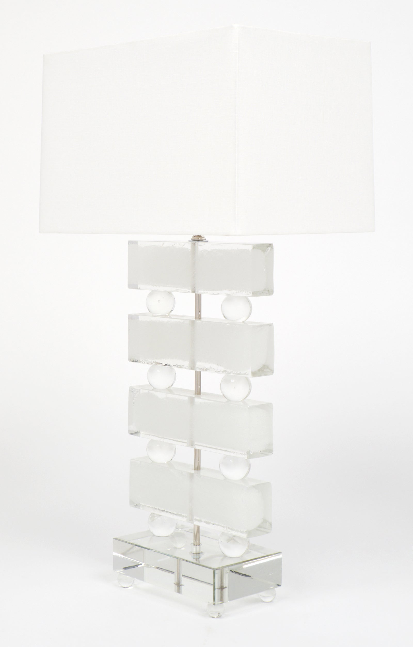 Pair Of Frosted Murano Glass Block Table Lamps For Sale At 1stdibs