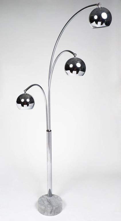Italian Mid Century Modern Chrome Guzzini Floor Lamp At