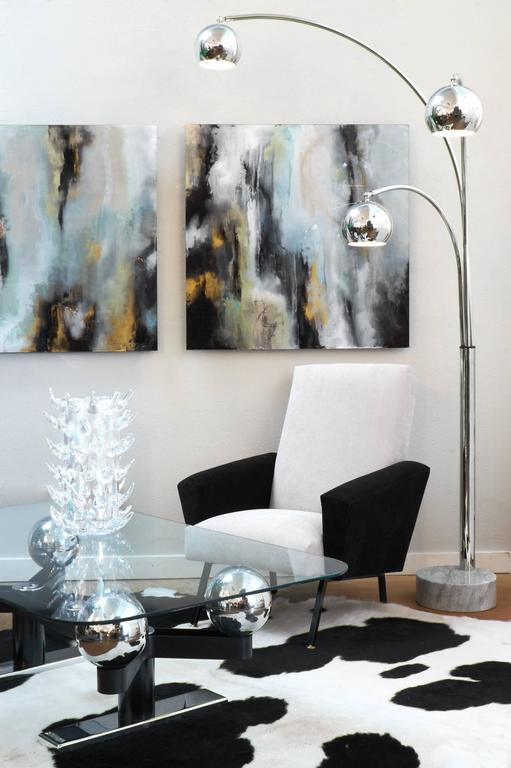 Italian Vintage Mid Century Modern Period Chrome Floor Lamp With Three Arcing Independently Adjule