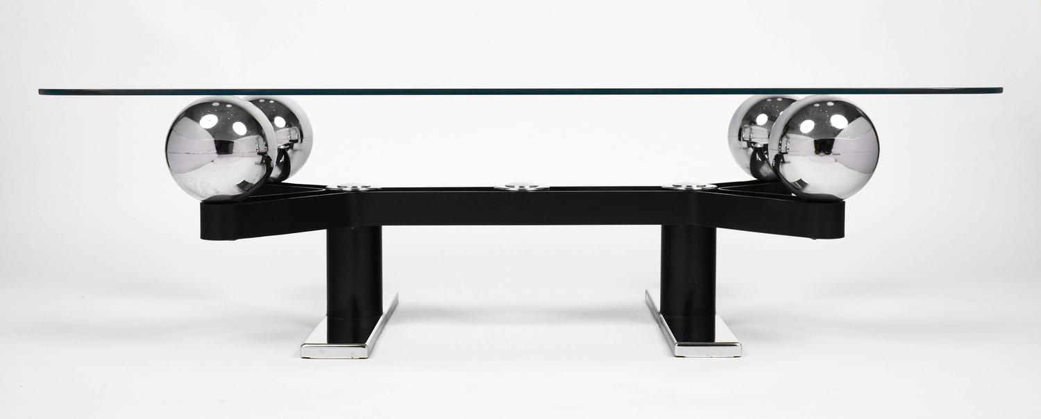 Vintage chrome spheres and black metal coffee table at 1stdibs Black and chrome coffee table
