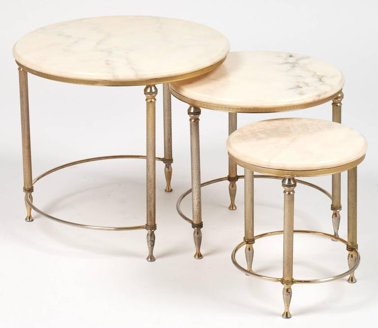 Art Deco French Neoclassic Set Of Three Onyx Top Bronze Nesting Tables For  Sale
