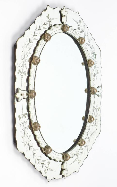 Antique Venetian Etched Mirror At 1stdibs