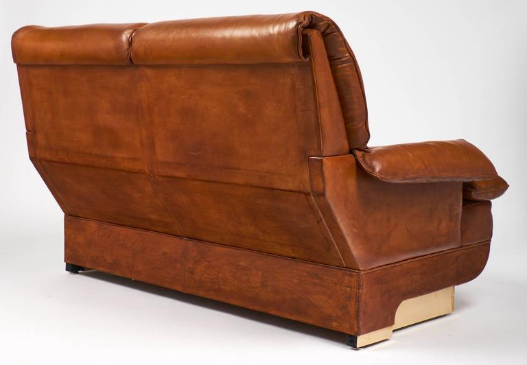 French Modernist Vintage Leather and Brass Sofa For Sale 1