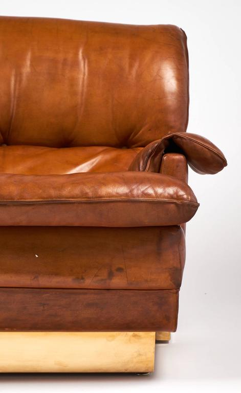 French Modernist Vintage Leather and Brass Sofa 9