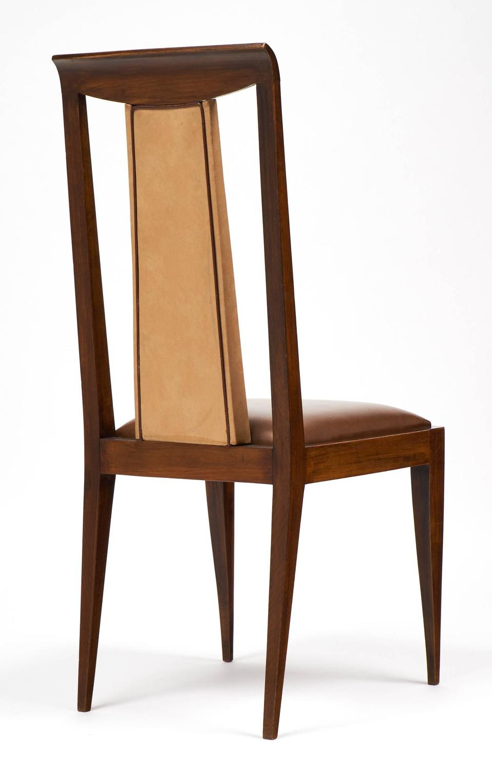 French 1940s set of six solid walnut dining chairs for for French dining room furniture