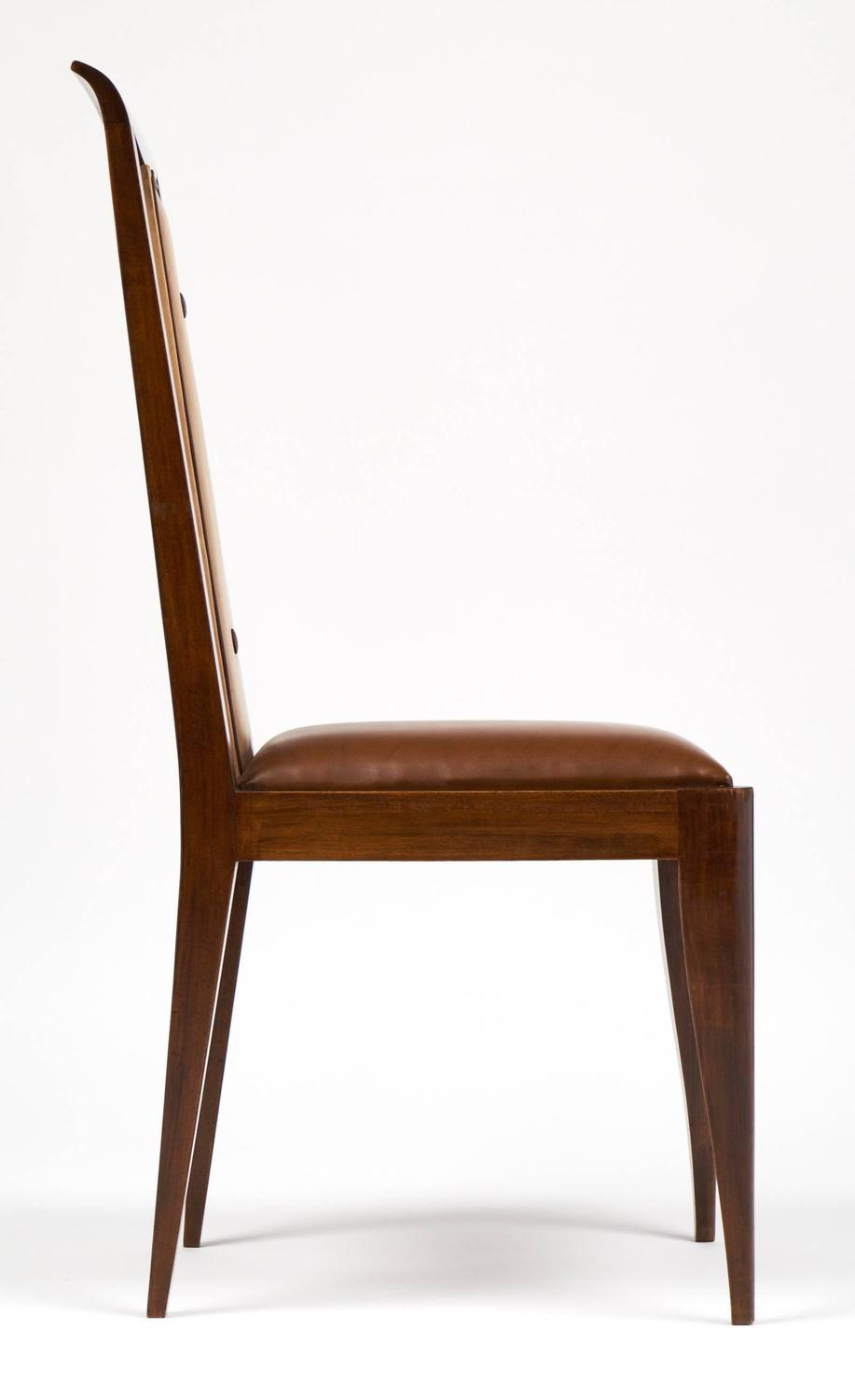 french 1940s set of six solid walnut dining chairs for sale at 1stdibs