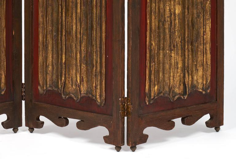 Gold Leaf Antique Painted Three-Panel Folding Screen For Sale