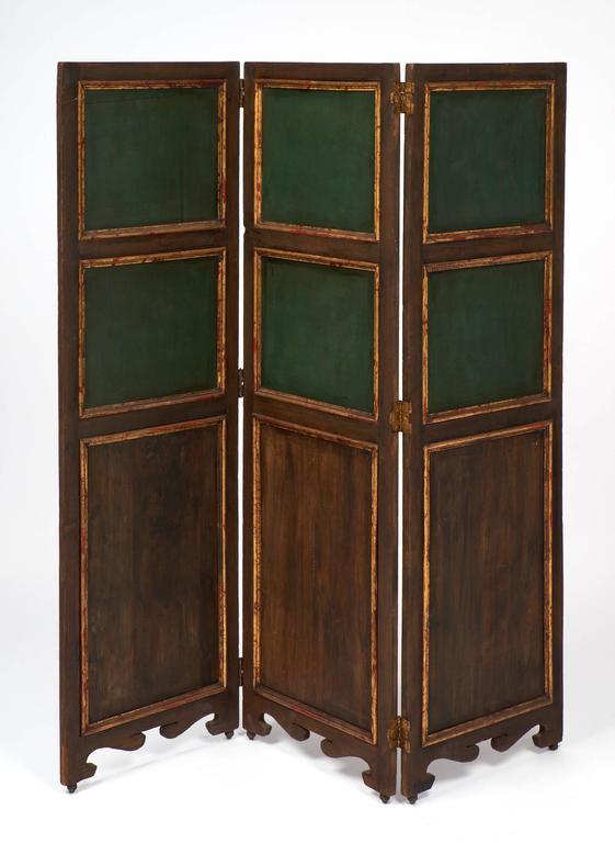 Antique Painted Three-Panel Folding Screen 2 - Antique Painted Three-Panel Folding Screen For Sale At 1stdibs