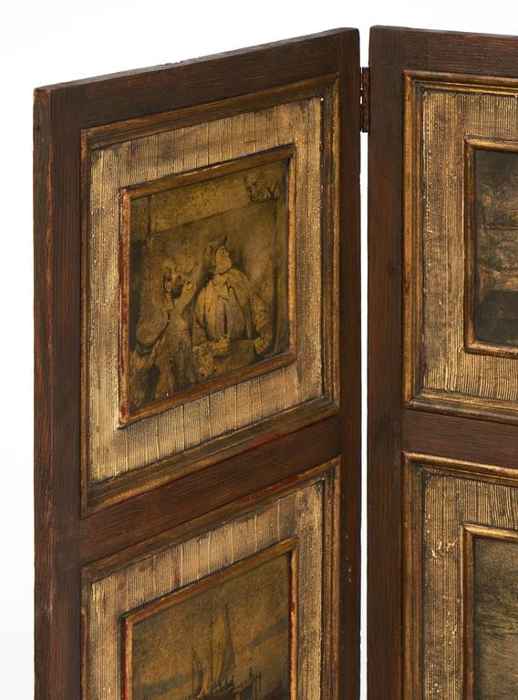 Napoleon III Antique Painted Three-Panel Folding Screen For Sale