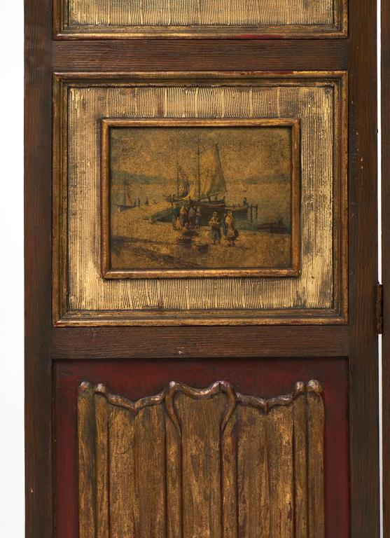 French Antique Painted Three-Panel Folding Screen For Sale