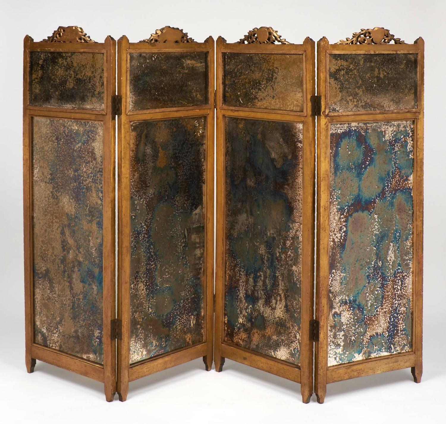 French Folding Screens : French louis xvi gilt and mirrored folding screen for sale