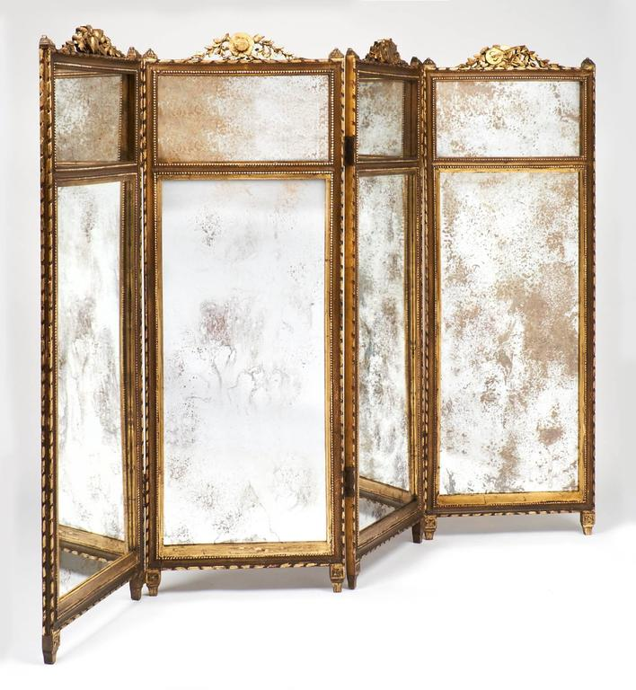 French Folding Screens : French louis xvi gilt and mirrored folding screen at stdibs